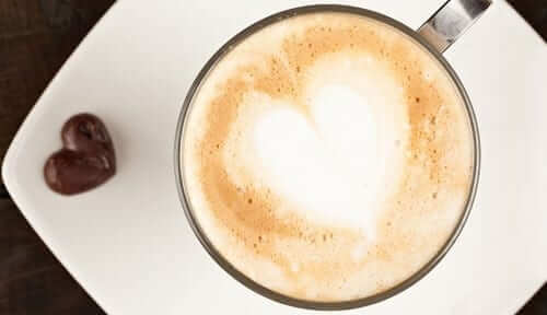 Coffee Cup with Heart Chocolate