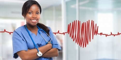 Nurse with Drawn Heartbeat