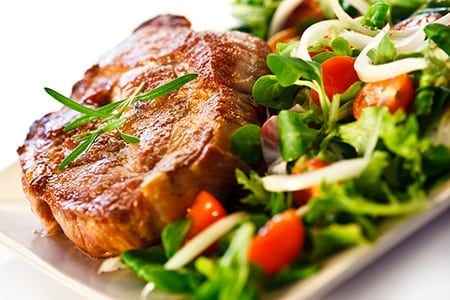 Steak and vegetables, fats and carbohydrates.
