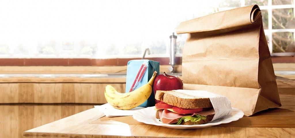 School lunch on countertop
