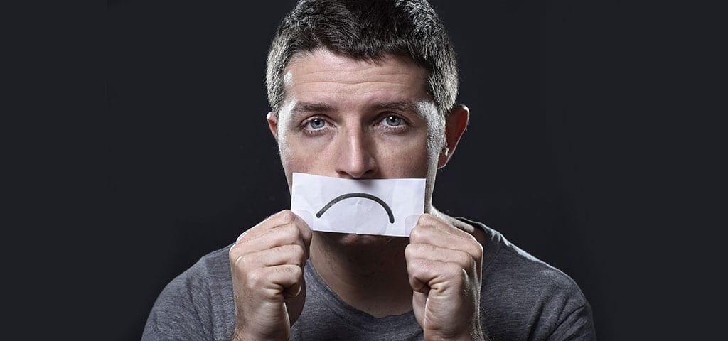 Man with sad face