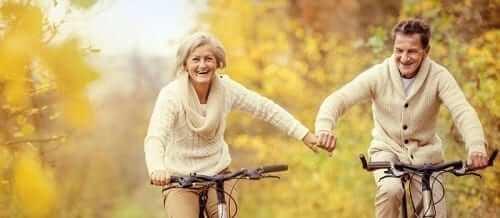 Old Couple Biking