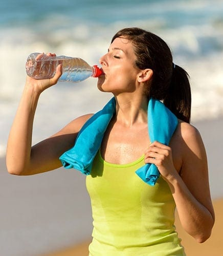Woman Drinking Bottled Water - Summer Skin Care