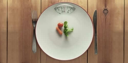 Plate Scale with Small Vegetables on it