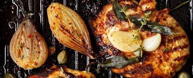 Grilled Chicken, Garlic and Onions