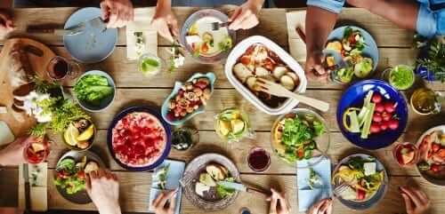 Dinner Table Filled with Healthy Foods