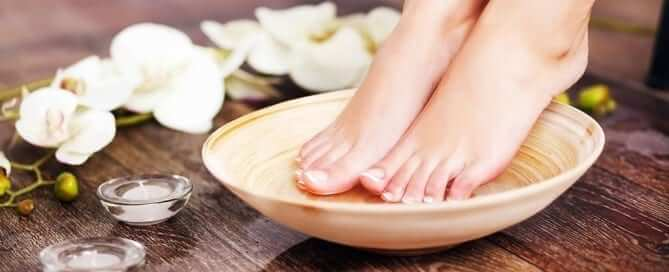 Feet in Bowl with Flowers