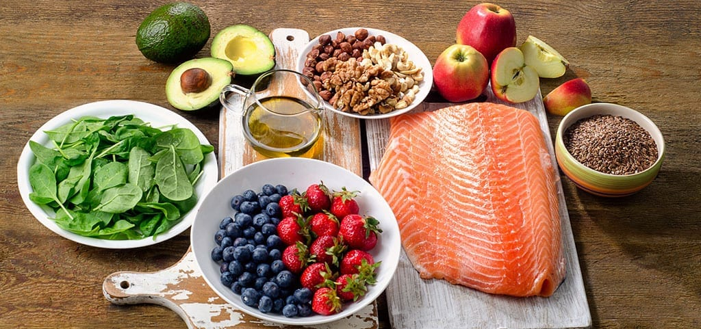 Healthy Food - Fish Fruits Nuts Vegetables