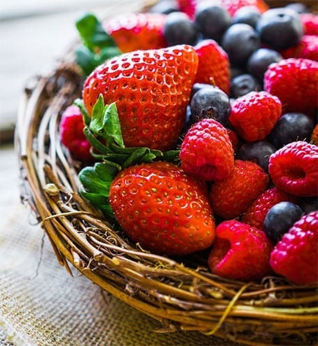 Mix of Berries in a Basket