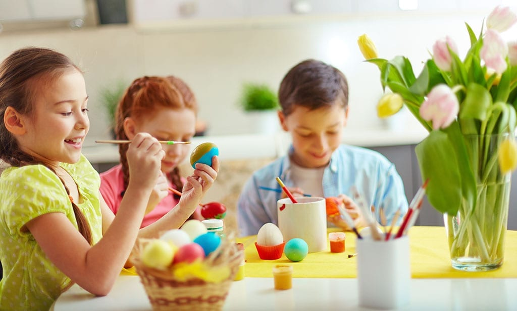 Kids Painting Easter Eggs