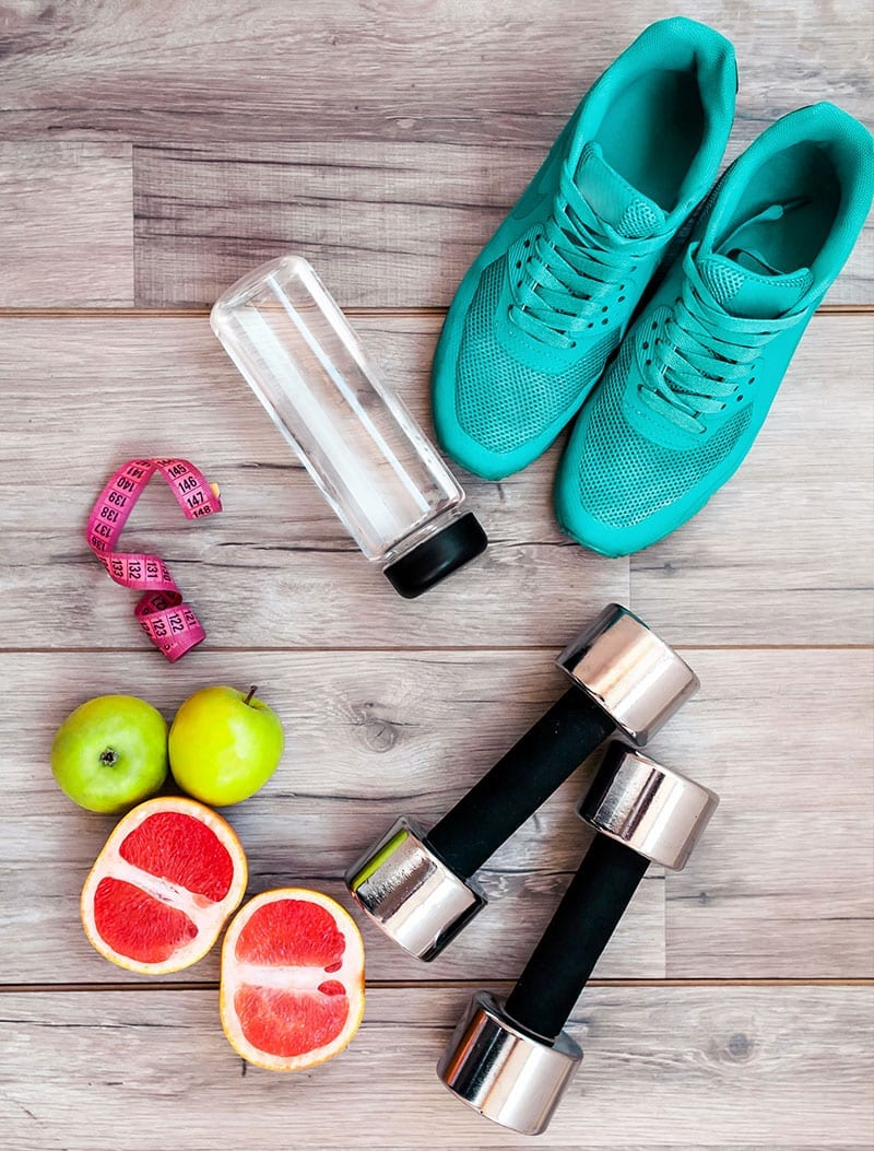 Running Shoes Fruits and Exercise Equipment