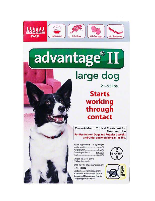 Advantage II For Large Dogs 21-55 lbs Red 6PK - 6 Month $ 61.37