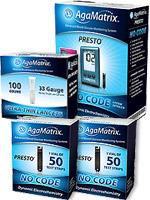 AgaMatrix Presto Glucose Test Strips 100ct & 100 Lancets w/FREE Presto Meter