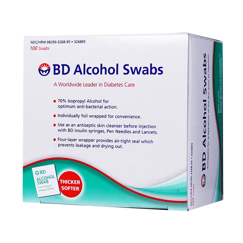 BD Alcohol Swabs Antiseptic for Insulin Injection (Box of 100)