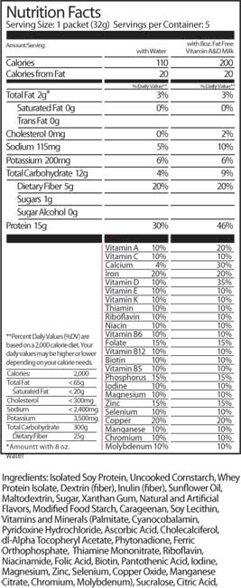 Extend Shakes Strawberry Nutrition