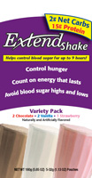 Extend Shakes Variety Pack features Chocolate, Strawberry & Vanilla flavors