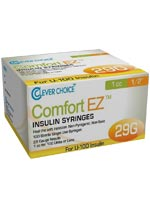 Clever Choice Comfort EZ Insulin Syringes 29G 1 cc 1/2' 100/bx $ 8.99