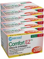 Clever Choice Comfort EZ Insulin Syringes 28G 1/2 cc 1/2' 100/bx - $ 42.70