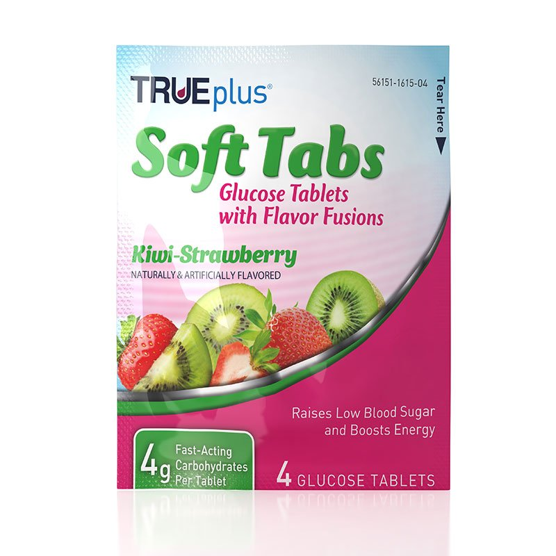 TRUEplus Glucose Tabs Flavor Fusions Kiwi-Strawberry 4ct - Case of 12