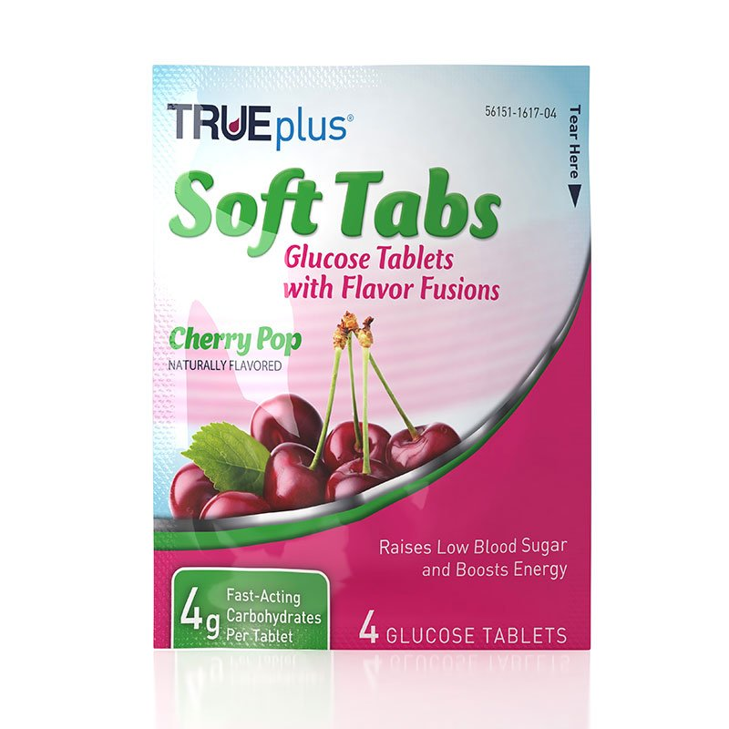 TRUEplus Glucose Tabs Flavor Fusions Cherry Pop 4ct - Case of 12