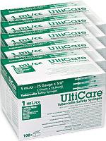 UltiCare Tuberculin Safety Syringe 1mL 25g 5/8' 100/bx Case of 5 $ 113.29