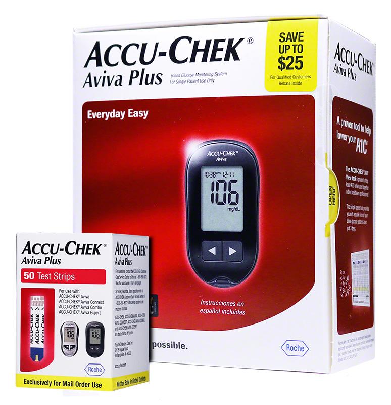 Accu-Chek Aviva Plus Diabetes Monitoring System Combo (meter, strips)