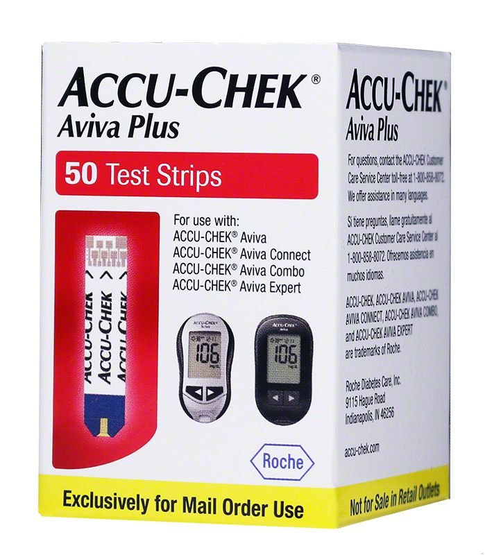 Accu-Chek Aviva Plus Diabetic Test Strips Box of 50