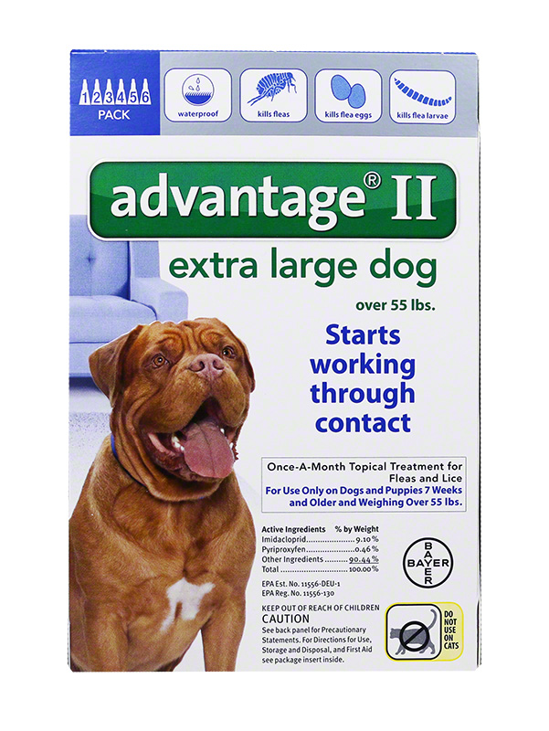 Advantage II For X-Large Dogs 55+ lbs Blue 6PK - 6 Month