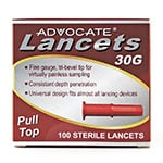 Advocate Pull-Top Lancets 30G Box of 100