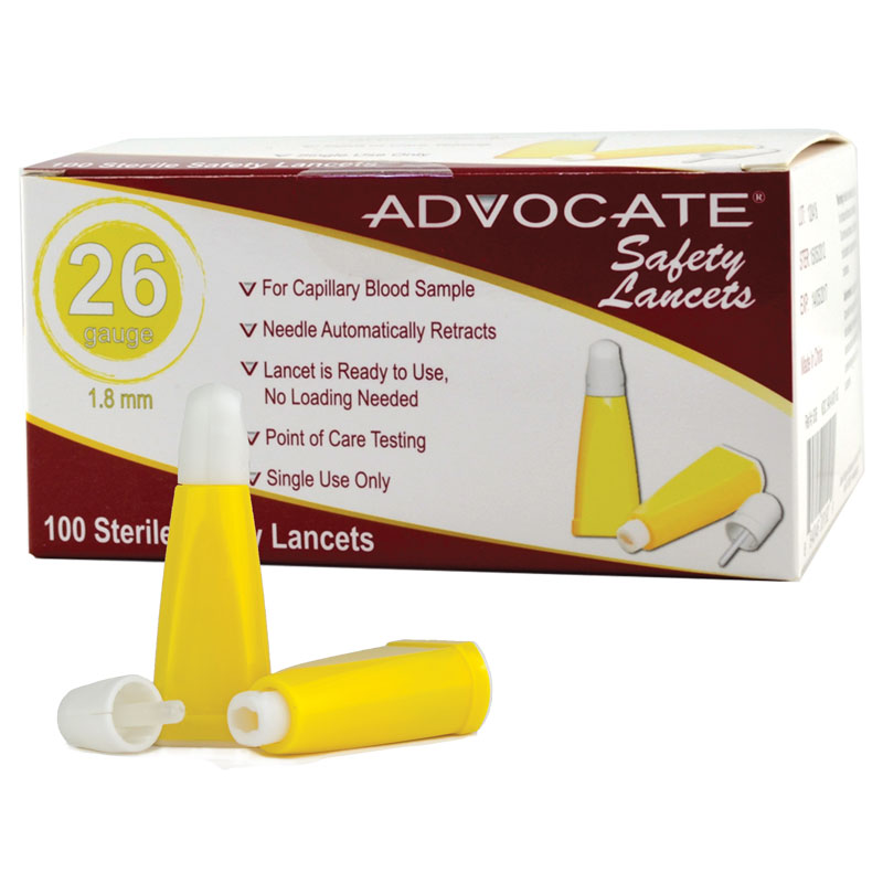 Advocate Safety Lancets 26G x 1.8mm Box of 100 - Pack of 5