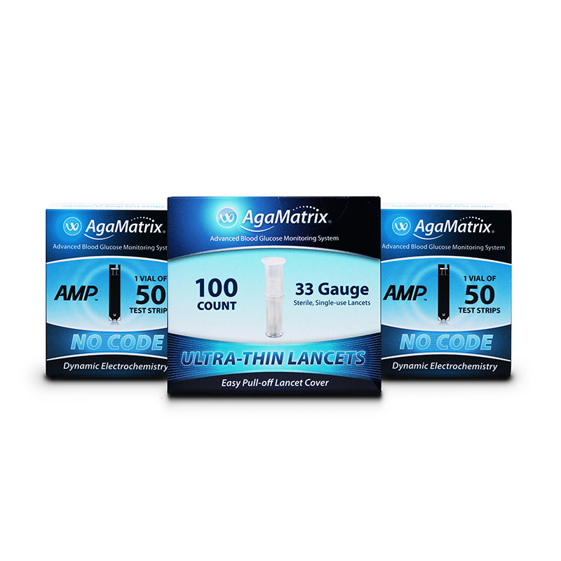 AgaMatrix Amp No-Code Blood Glucose Test Strips 100ct & 100 Lancets
