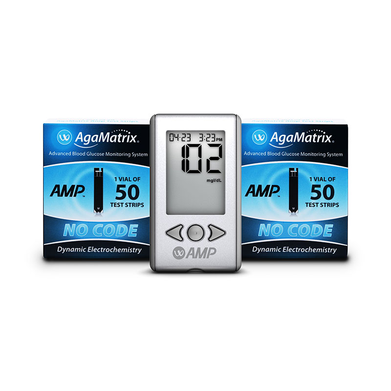 AgaMatrix Amp No-Code Blood Glucose Meter Kit & 200 Strips