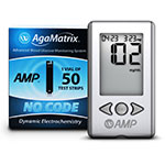 AgaMatrix Amp No-Code Blood Glucose Meter Kit & 50 Strips
