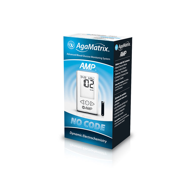 AgaMatrix Amp No-Code Blood Glucose Meter Kit - Pack of 12
