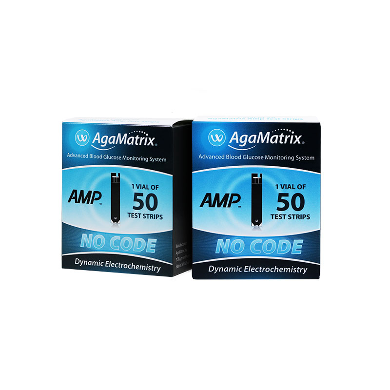 AgaMatrix Amp No-Code Blood Glucose Test Strips Pack of 12 Boxes