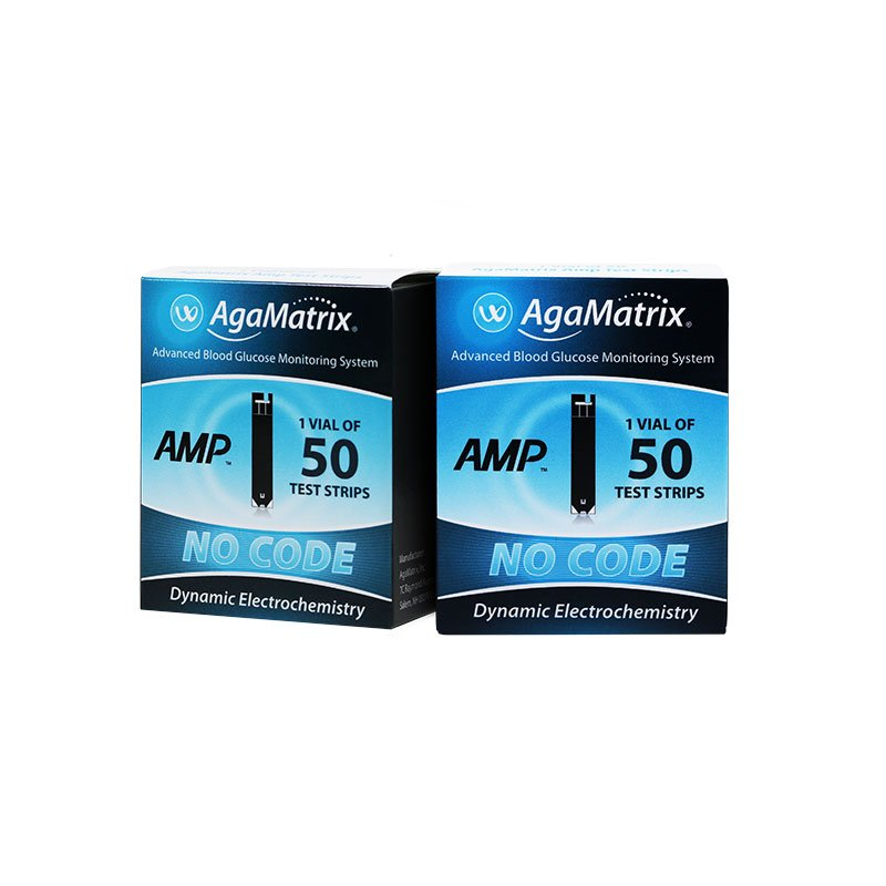 AgaMatrix Amp No-Code Blood Glucose Test Strips 50ct - Case of 48