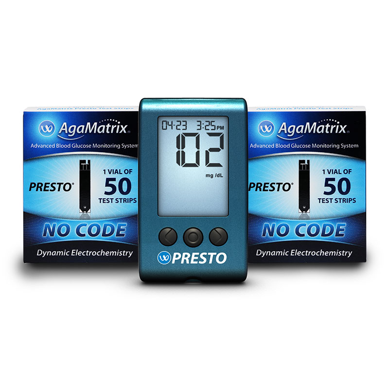 AgaMatrix Presto Test Strips 50ct - Case of 48 W/12 FREE Meters
