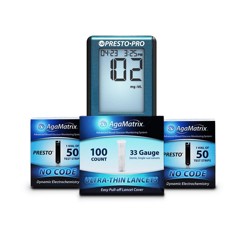 100ct Presto Glucose Test Strips, 100 Lancets & FREE Presto Pro Meter