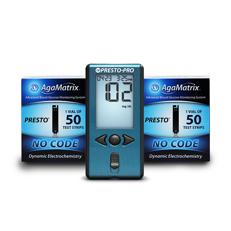 AgaMatrix Presto Pro Blood Glucose Meter Kit & 500 Strips