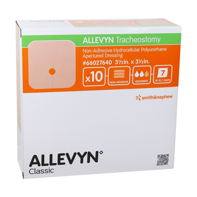 Smith and Nephew ALLEVYN Tracheostomy Wound Dressing 3.5 inch x 3.5 inch