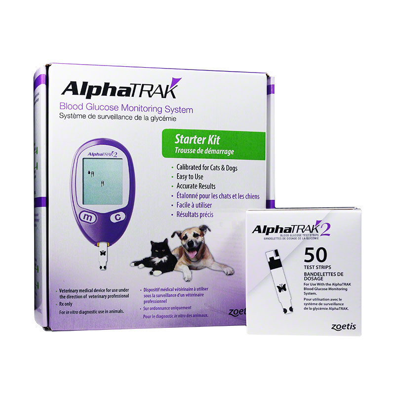 AlphaTRAK 2 Veterinary Blood Glucose Monitoring Starter Kit w/50 Extra Strips