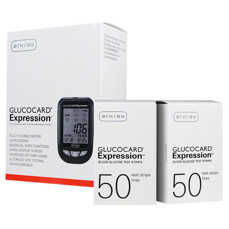 Arkray Glucocard Expression Blood Glucose Monitoring Kit and 200 Strips