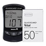 Arkray GlucoCard Vital Glucose Meter Kit Black and 50 Strips thumbnail