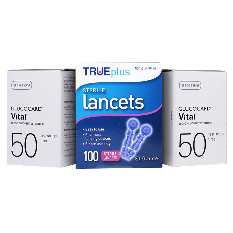 Arkray Vital Blood Glucose 100 Test Strips & 100 Lancets