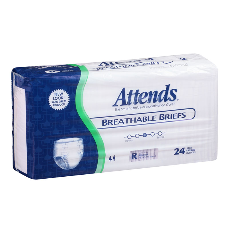 Attends Breathable Briefs BRB25 Regular 34-56 Inch Bag of 24