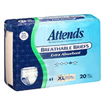 Attends Breathable Briefs Extra Absorbency X-Large 58-63 Inch 20 per bag thumbnail