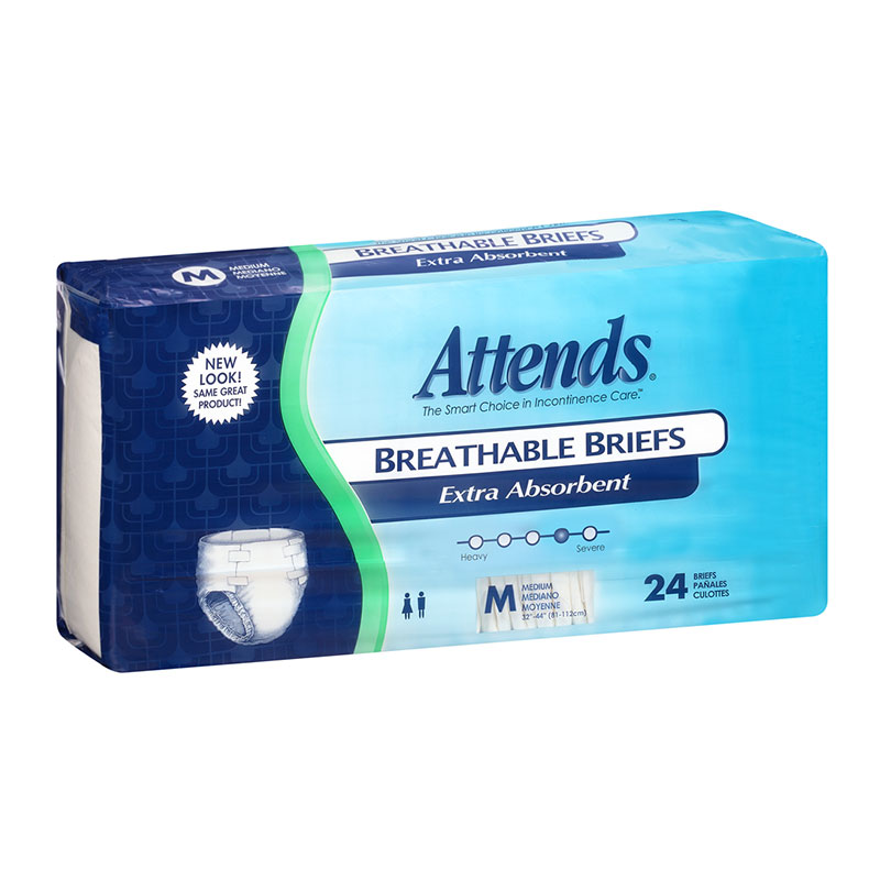 Attends Breathable Briefs Extra Absorbency, Medium (34-44 inch)