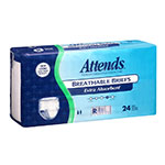 Attends Breathable Briefs Extra Absorbency Regular 34-56 Inch Bag of 24