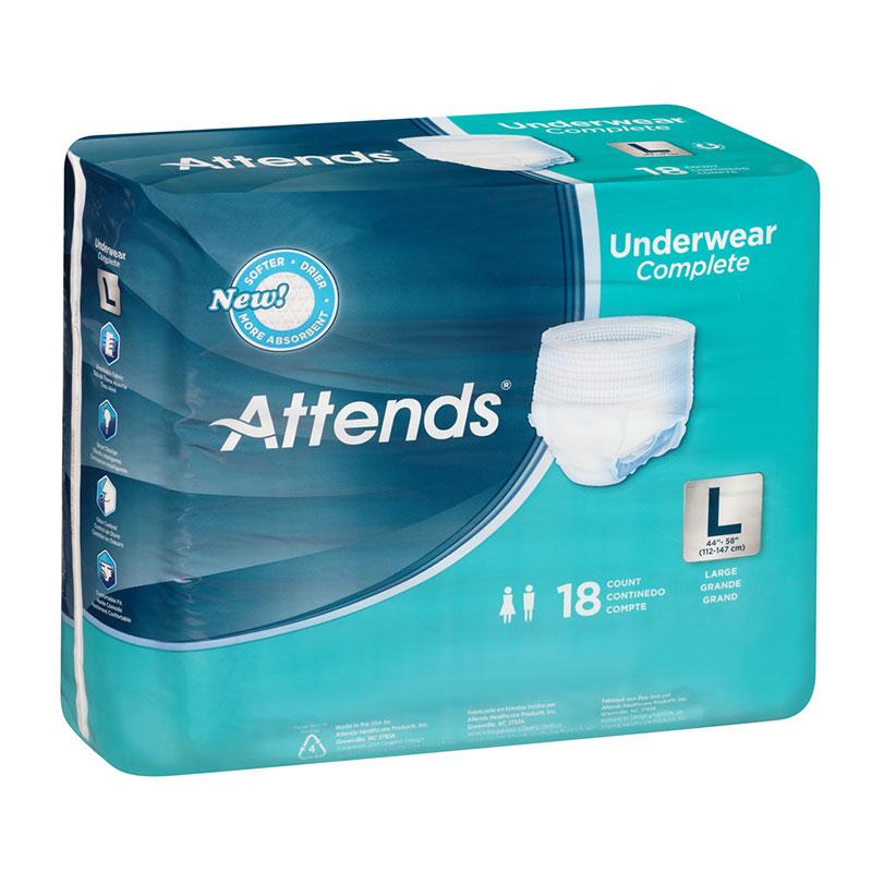 Attends Underwear Super Plus Leak Guard Large 44-58 Inch Bag of 18