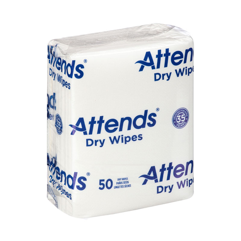 Attends Quickable Dry Wipes 10 x 13 Inch 50 Count